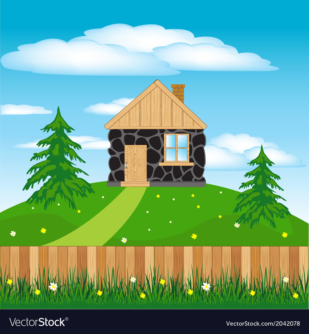 Lodge on hill vector | Price: 1 Credit (USD $1)