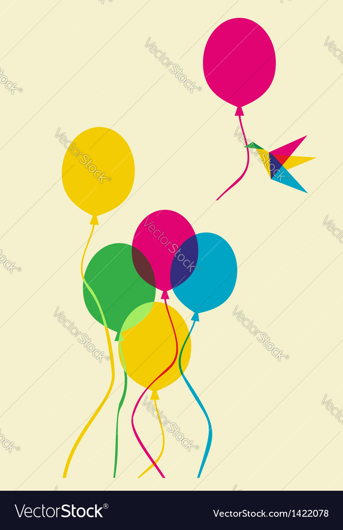 Multicolored humming bird and balloons vector | Price: 1 Credit (USD $1)