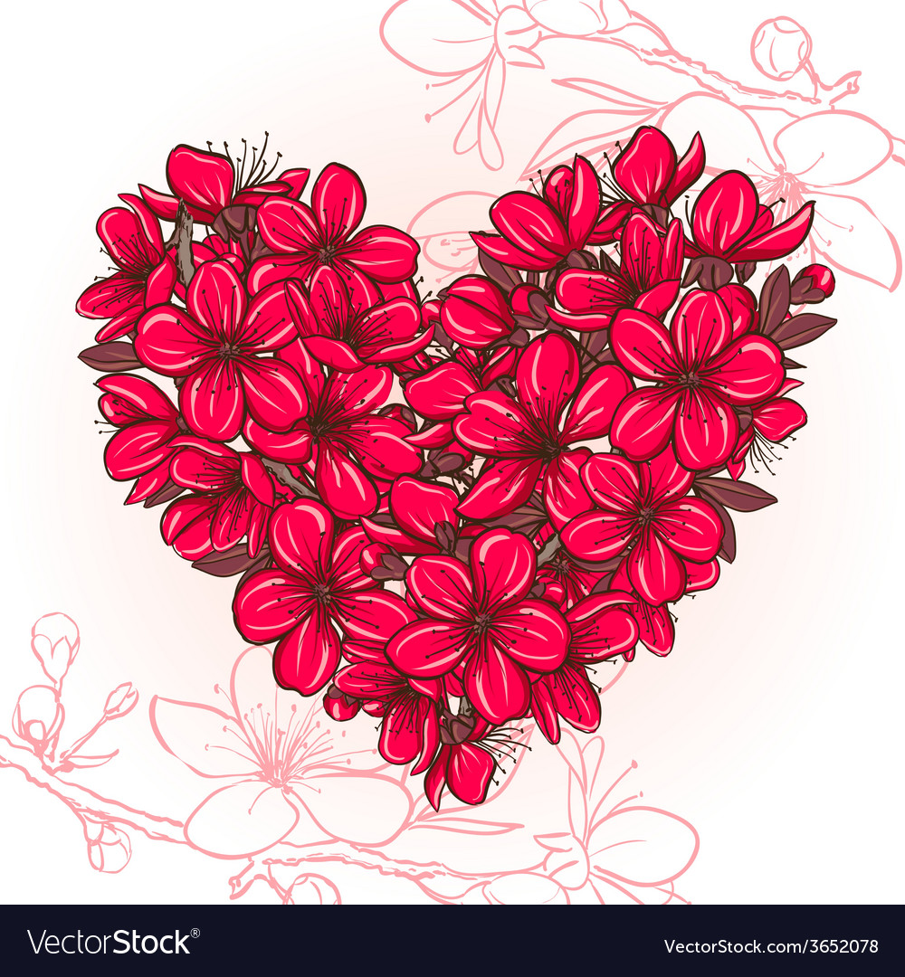 Plum blossomin the shape of heart vector | Price: 1 Credit (USD $1)