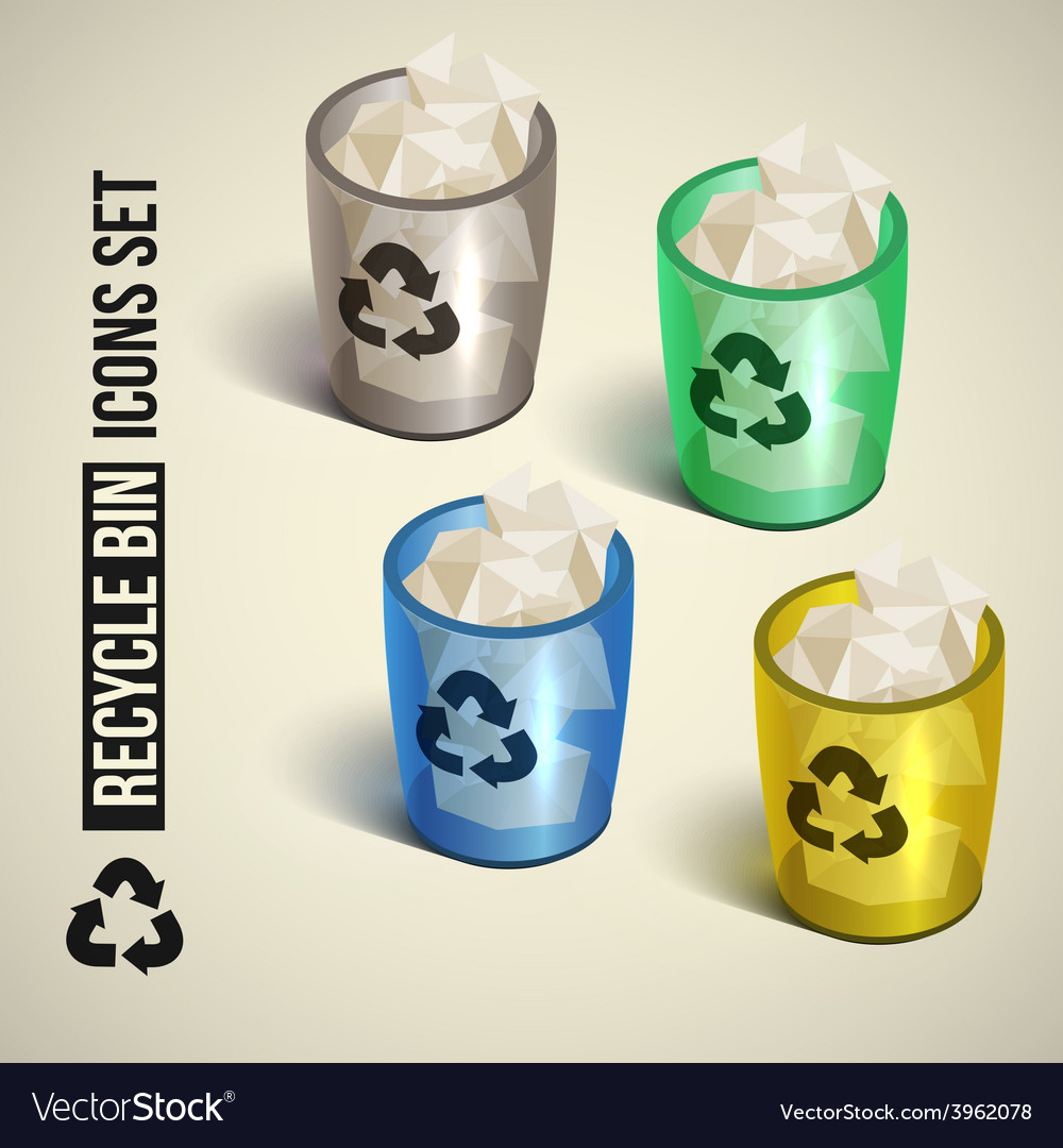 Realistic recycle bin icons set vector | Price: 3 Credit (USD $3)