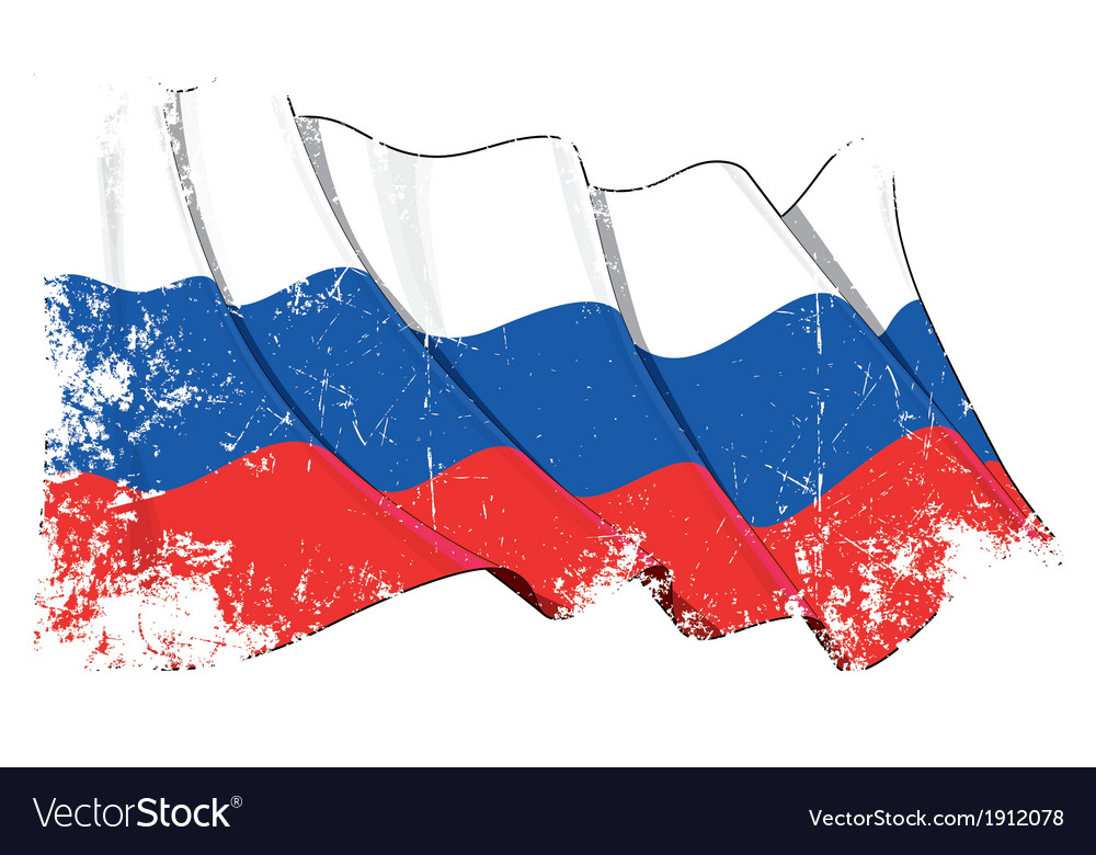 Russia national flag grunge vector | Price: 1 Credit (USD $1)