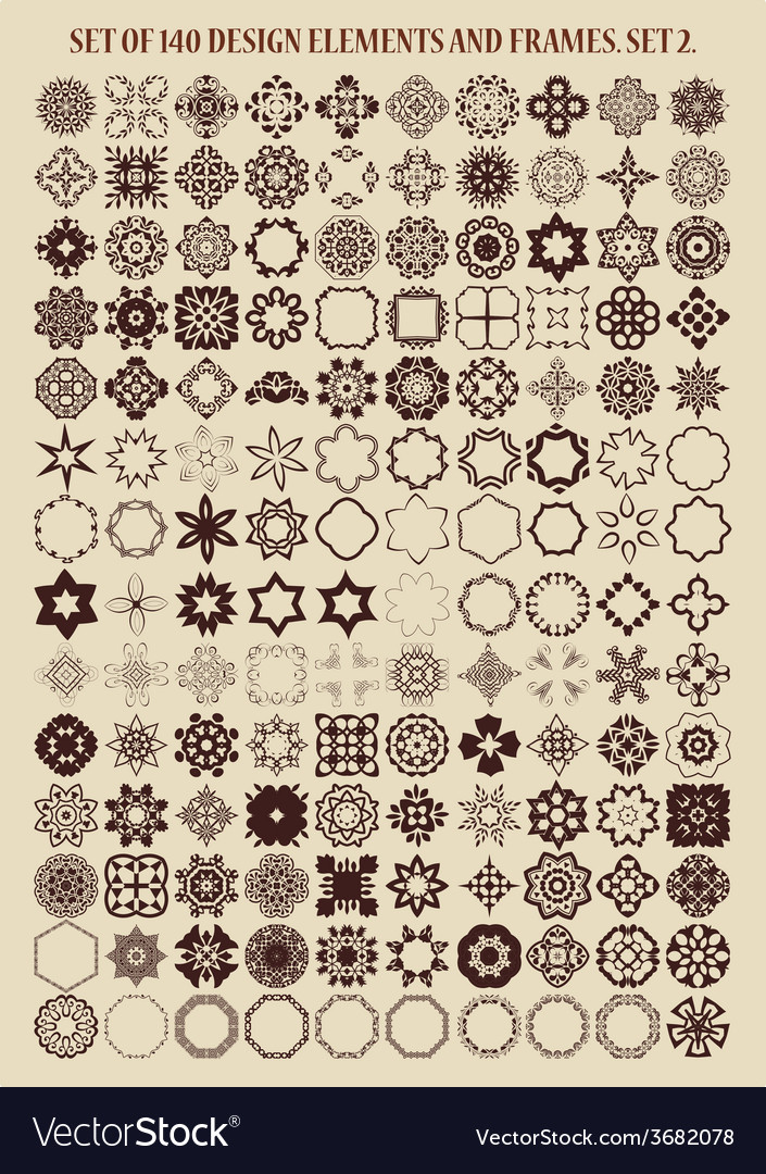 Set of 140 design elements and frames vector | Price: 1 Credit (USD $1)