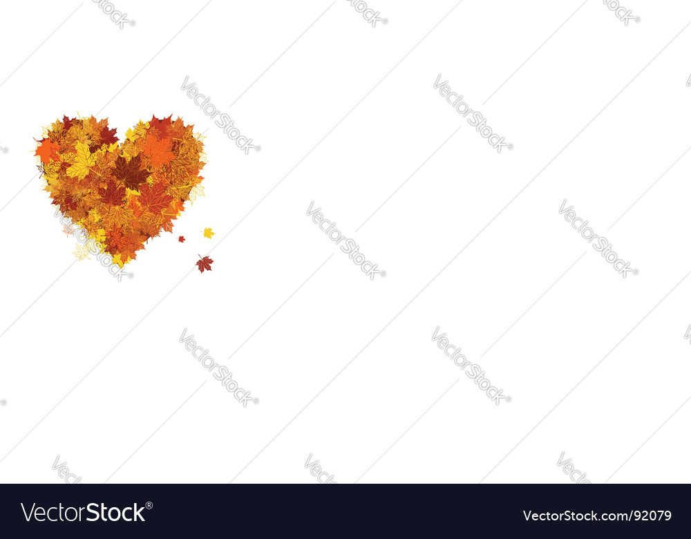 Autumn love heart shape leaf vector | Price: 1 Credit (USD $1)