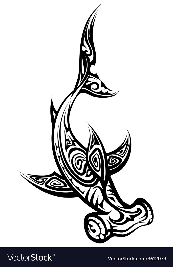 Black and white hammerhead shark polynesian tattoo vector | Price: 1 Credit (USD $1)