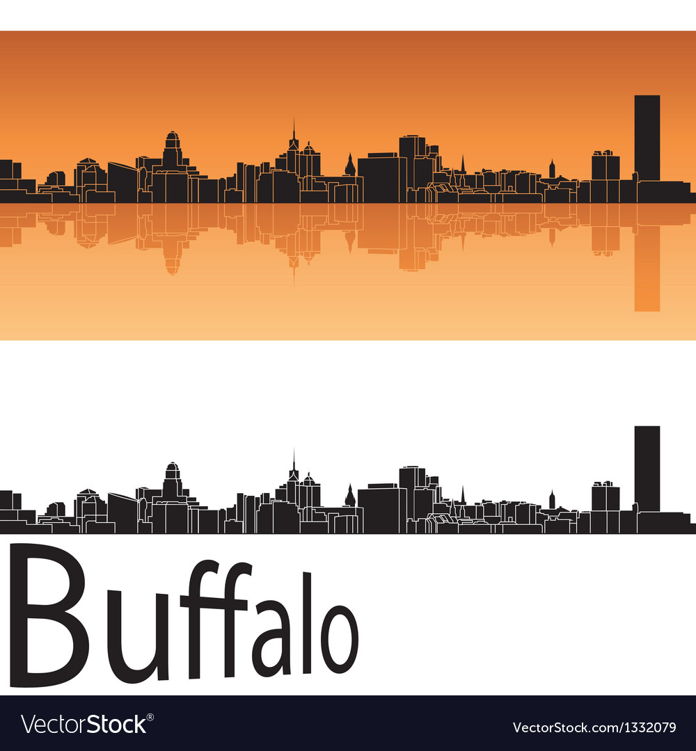 Buffalo skyline in orange background vector | Price: 1 Credit (USD $1)
