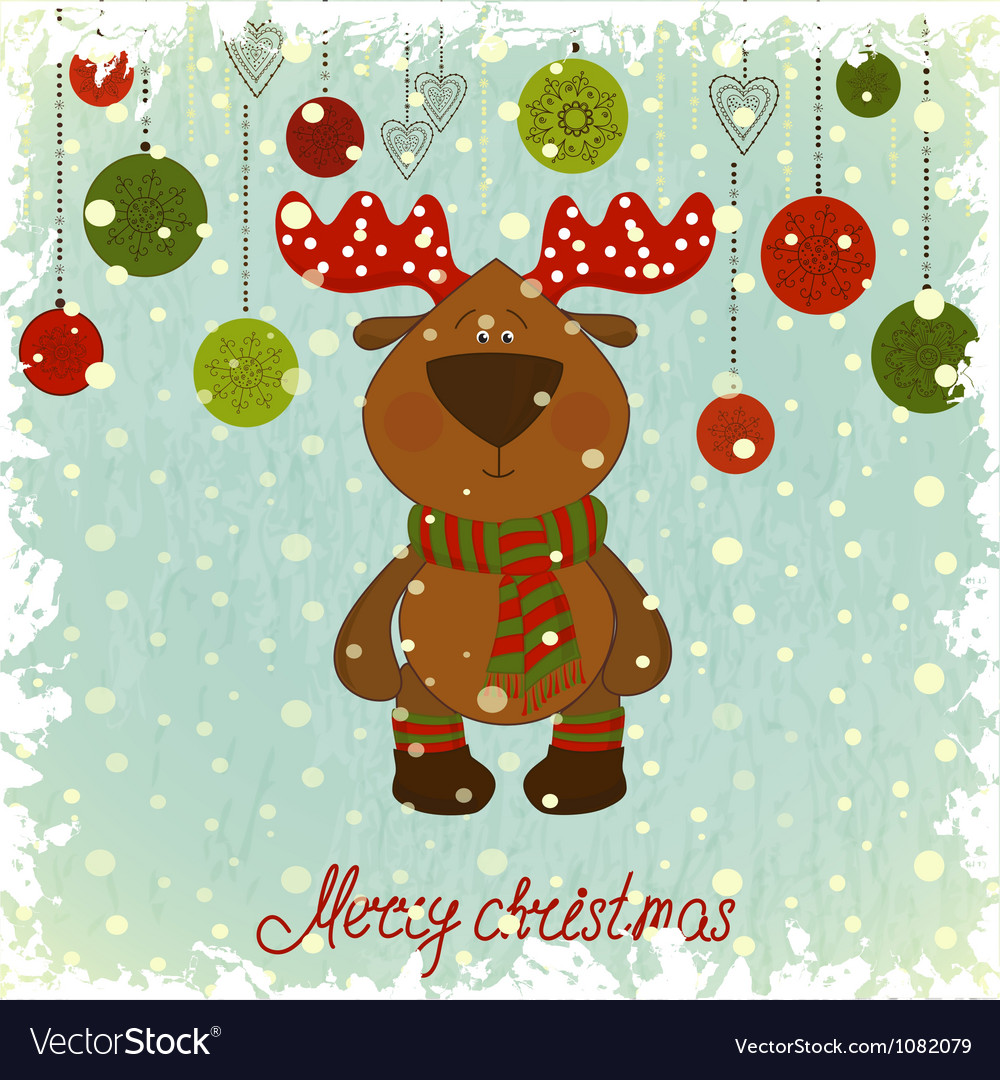 Christmas card with deer on blue background vector | Price: 1 Credit (USD $1)