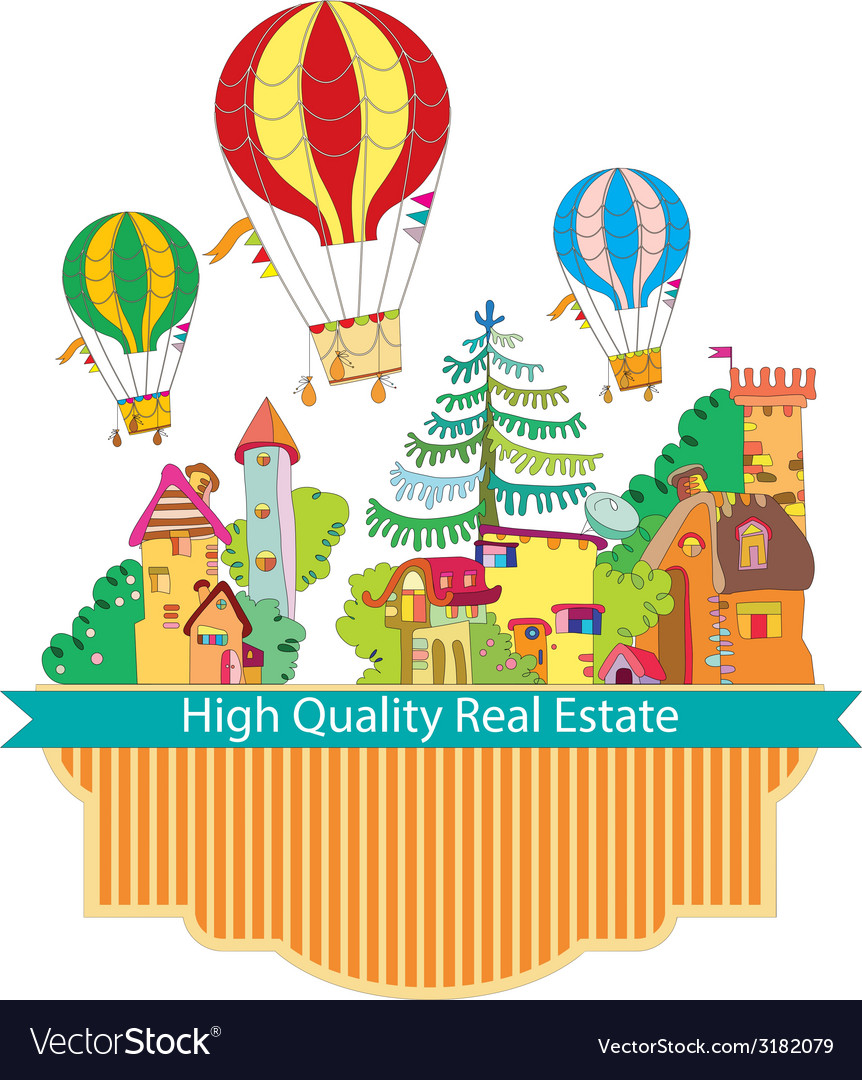 City town with hot air balloon card vector | Price: 1 Credit (USD $1)