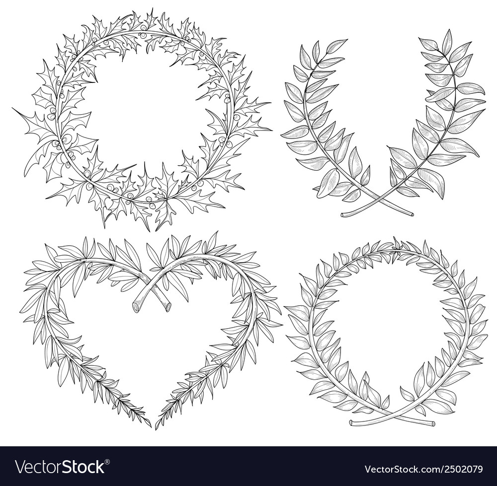 Collection with heart wreaths laurel space for vector | Price: 1 Credit (USD $1)