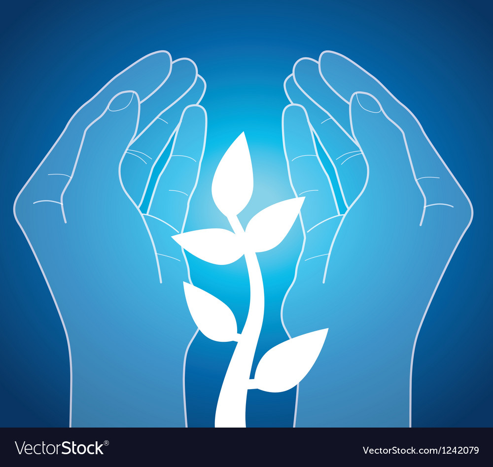 Human hands holding plant vector | Price: 1 Credit (USD $1)