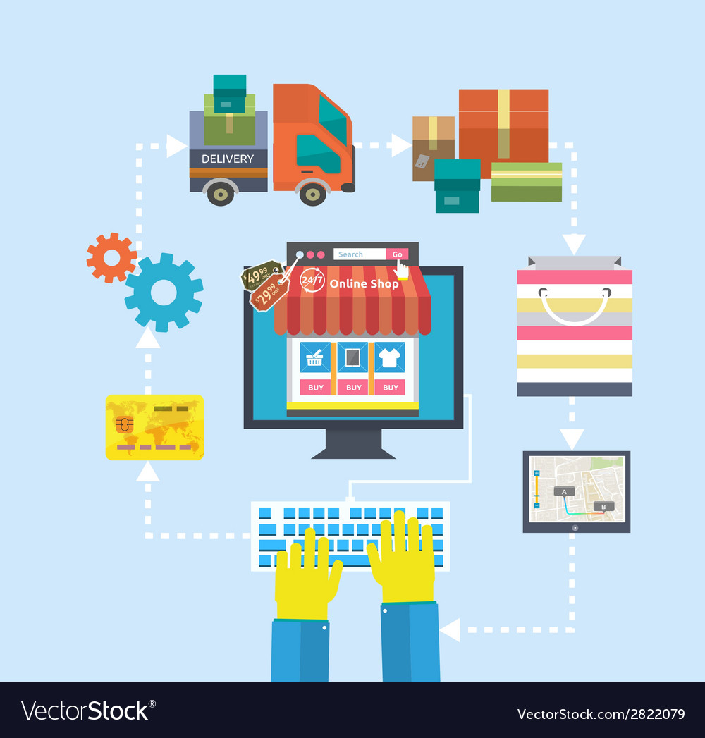 Internet shopping process of purchasing and vector | Price: 1 Credit (USD $1)