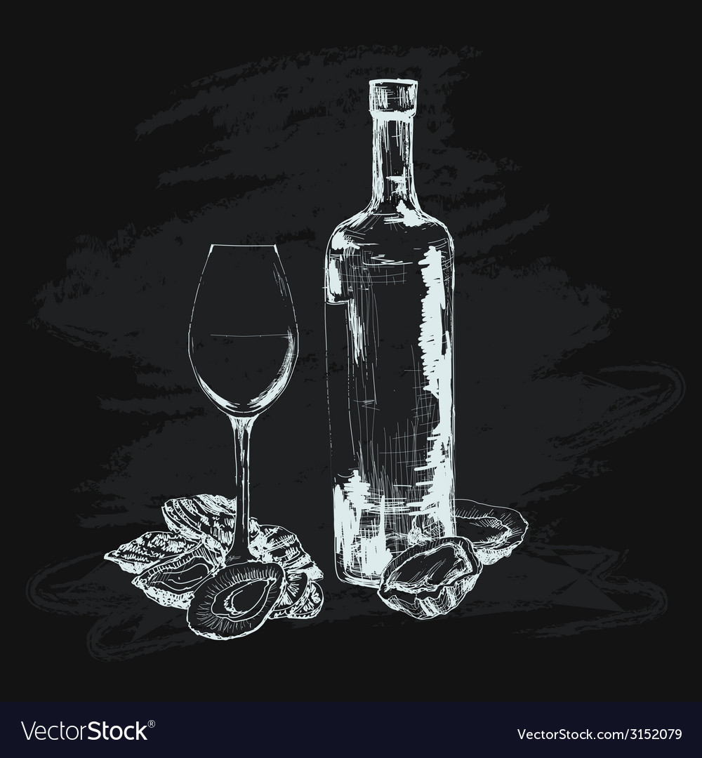 Oyster wine and glass vector | Price: 1 Credit (USD $1)