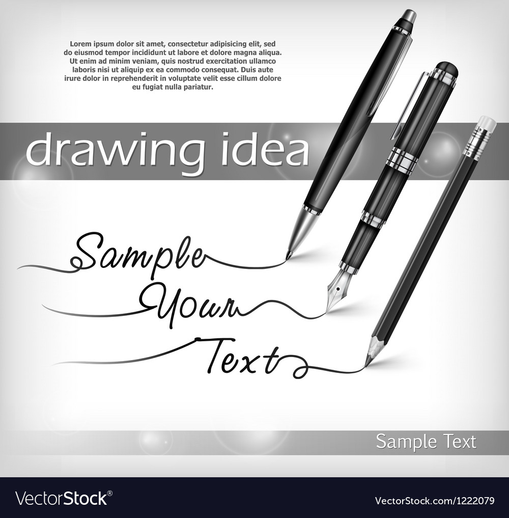 Pencil and pens signs  text vector | Price: 3 Credit (USD $3)