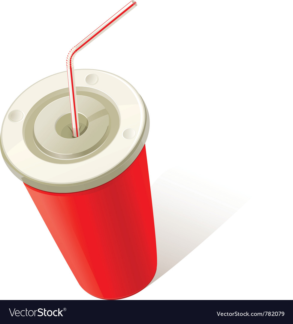 Red cold drink cup vector | Price: 1 Credit (USD $1)