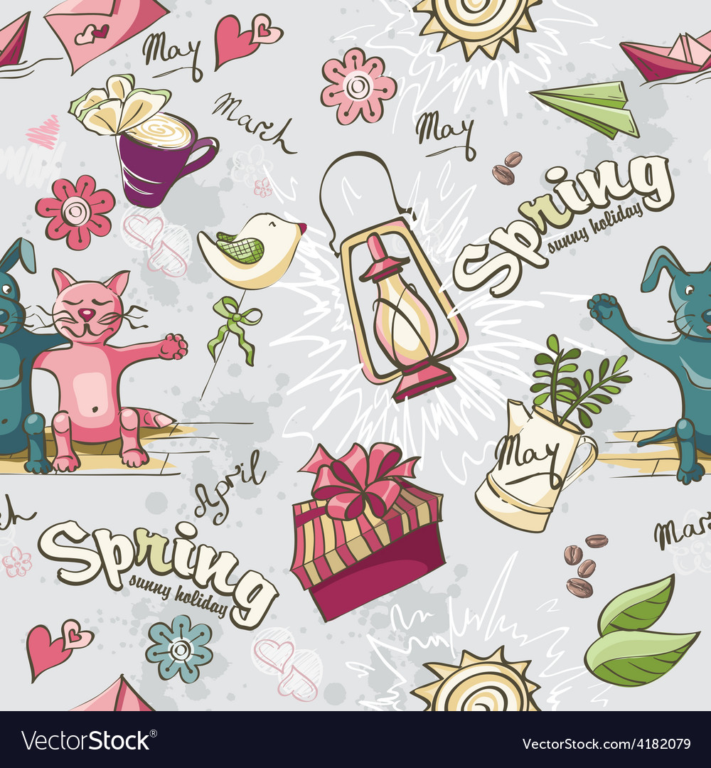 Seamless texture of colored spring doodles on a vector | Price: 1 Credit (USD $1)