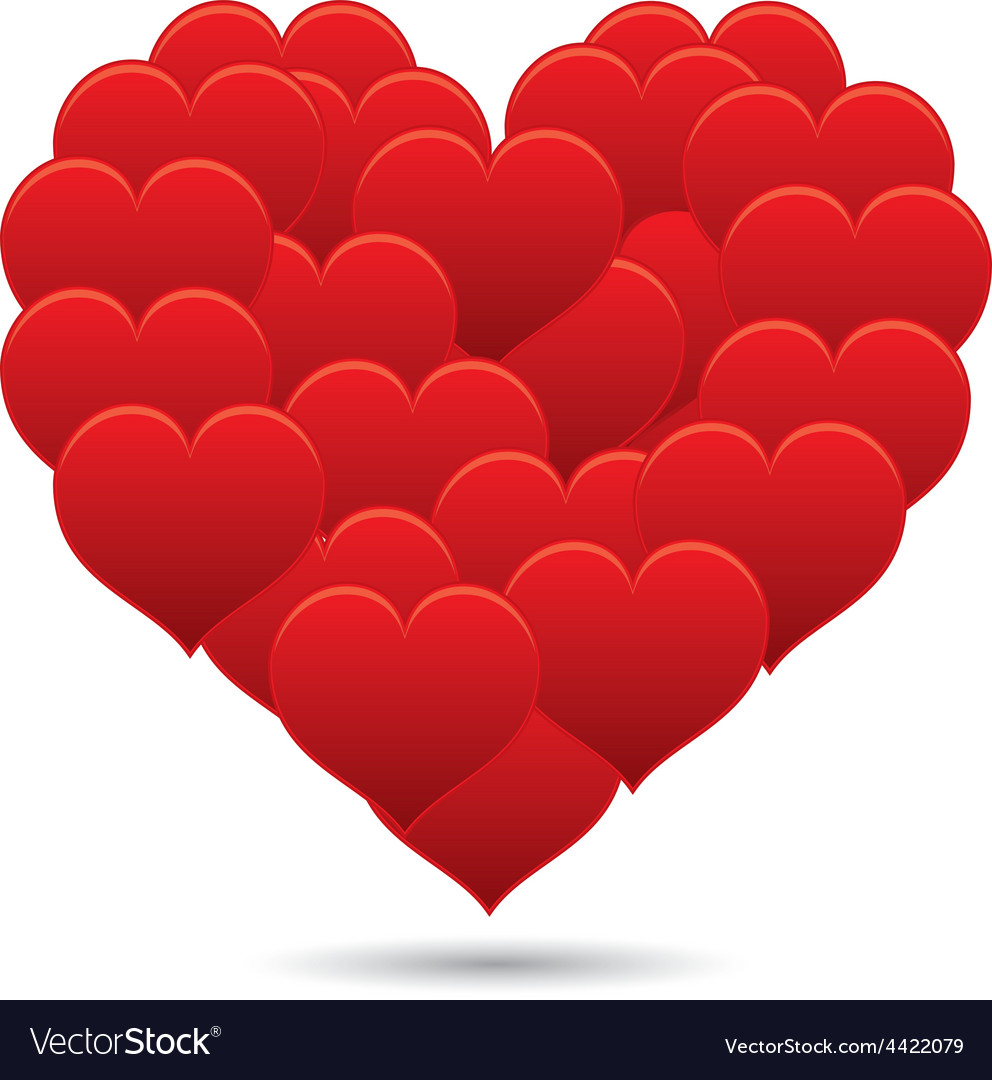 Shiny little red hearts in a shape of a big heart vector | Price: 1 Credit (USD $1)