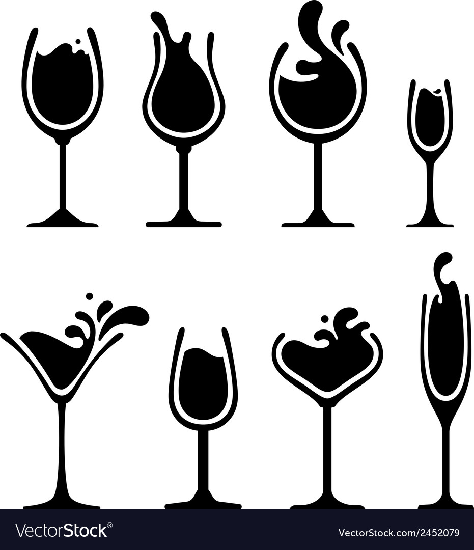 Silhouette of wine glass with splash vector | Price: 1 Credit (USD $1)