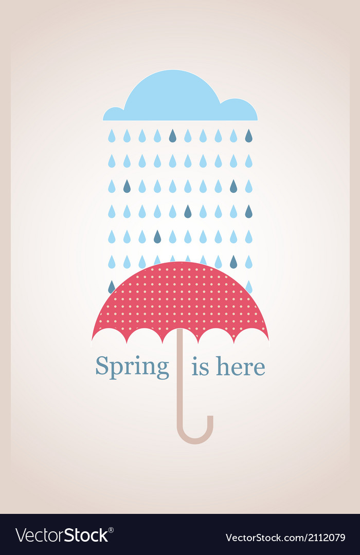 Spring time retro card with cloud and umbrella vector | Price: 1 Credit (USD $1)