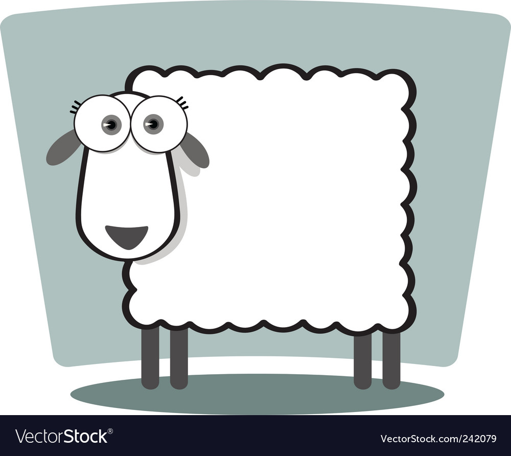 Square animal  sheep vector | Price: 1 Credit (USD $1)