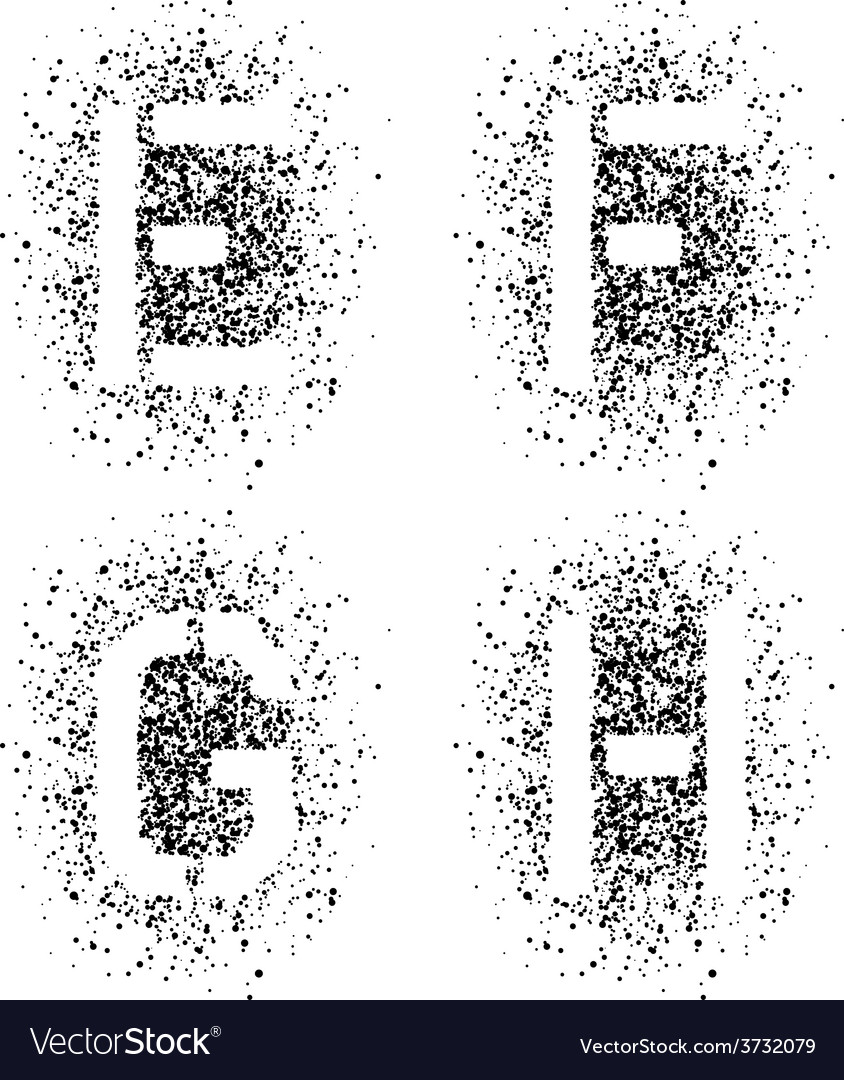Stencil angular spray font letters e f g h vector | Price: 1 Credit (USD $1)