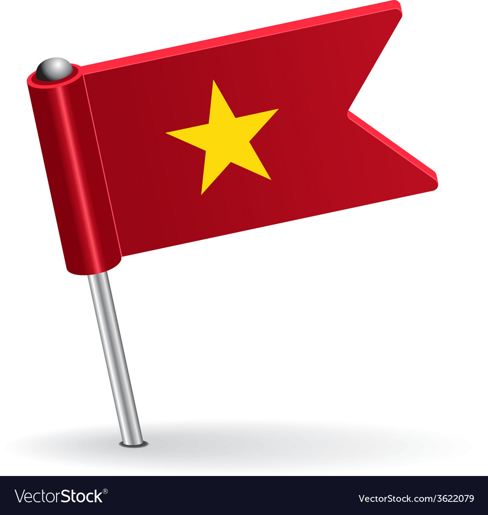 Vietnamese pin icon flag vector | Price: 1 Credit (USD $1)