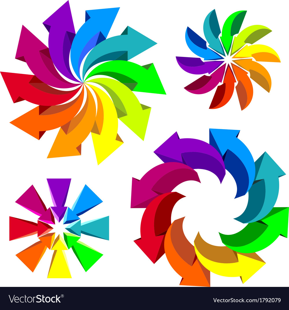 Volumetric colorful rotating arrows vector | Price: 1 Credit (USD $1)