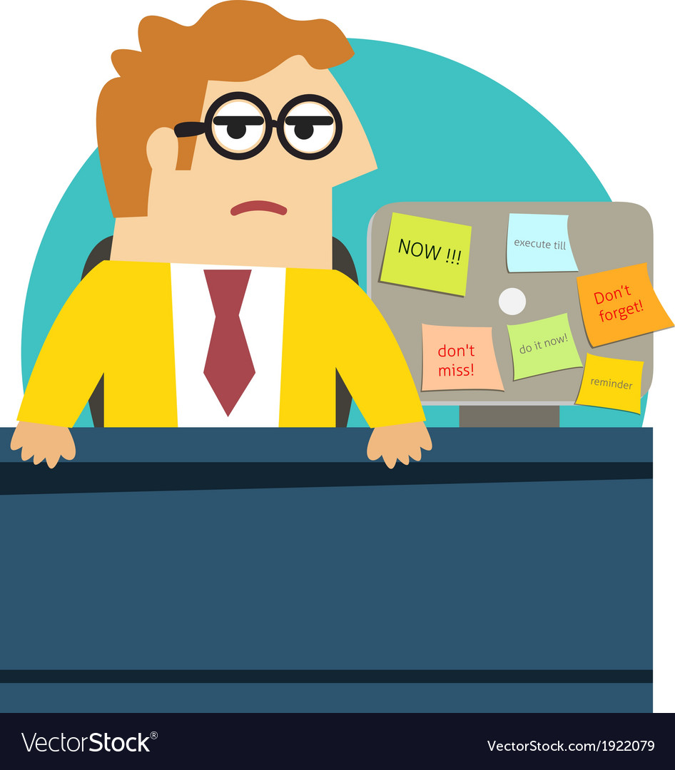 Worried angry office worker at the desk vector | Price: 1 Credit (USD $1)