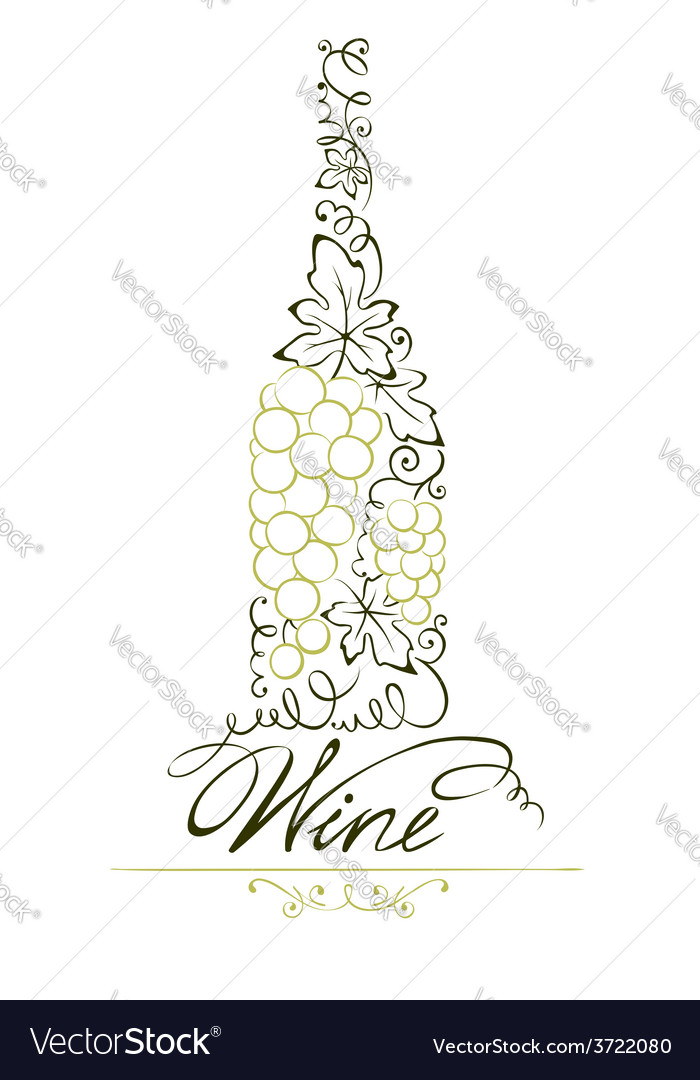 Abstract floral white wine bottle vector | Price: 1 Credit (USD $1)