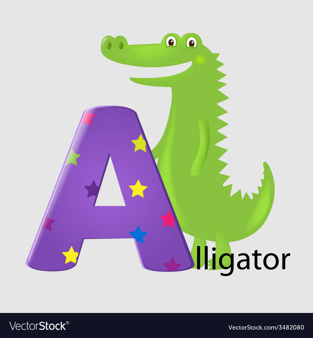 Alligator with letter a vector | Price: 1 Credit (USD $1)