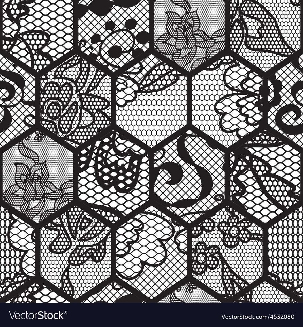 Black lace fabric seamless pattern vector | Price: 1 Credit (USD $1)