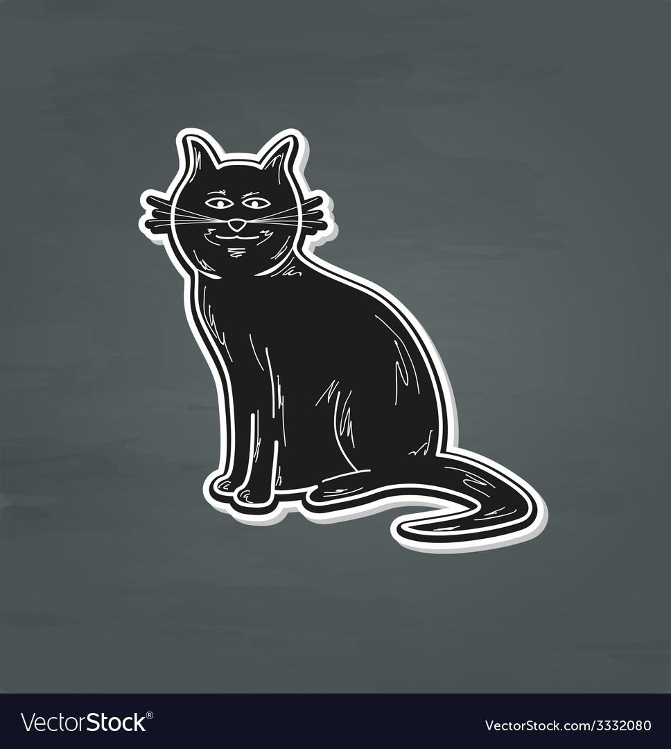 Black smiling cat vector | Price: 1 Credit (USD $1)