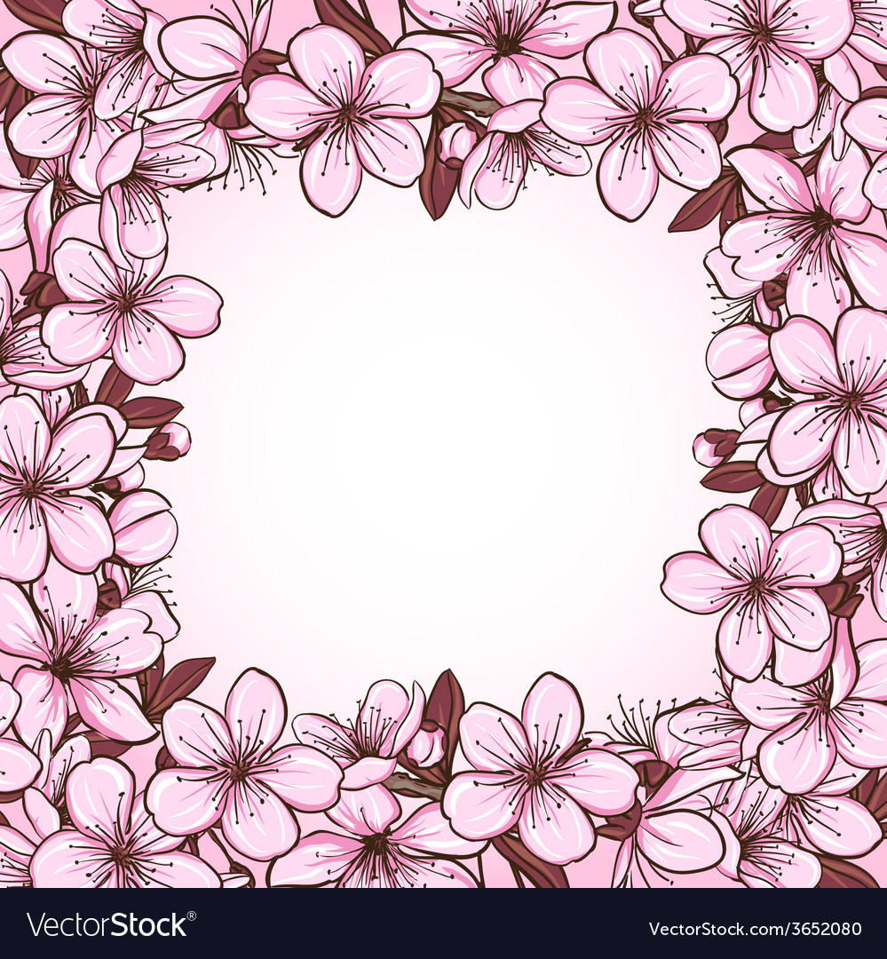 Cherry blossom frame vector | Price: 1 Credit (USD $1)