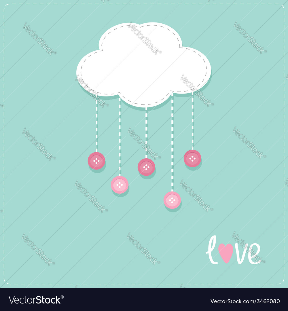 Cloud hanging rain button drops dash line love vector | Price: 1 Credit (USD $1)