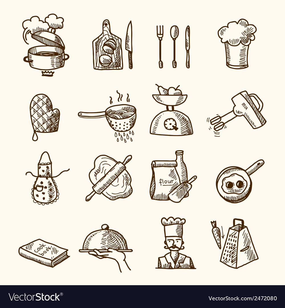 Cooking icons sketch vector | Price: 3 Credit (USD $3)