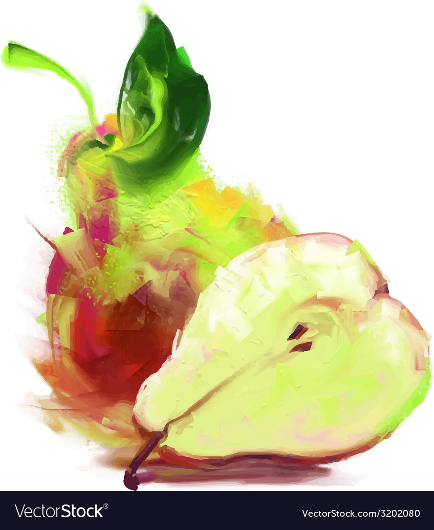 Drawing pear with a slice vector | Price: 1 Credit (USD $1)
