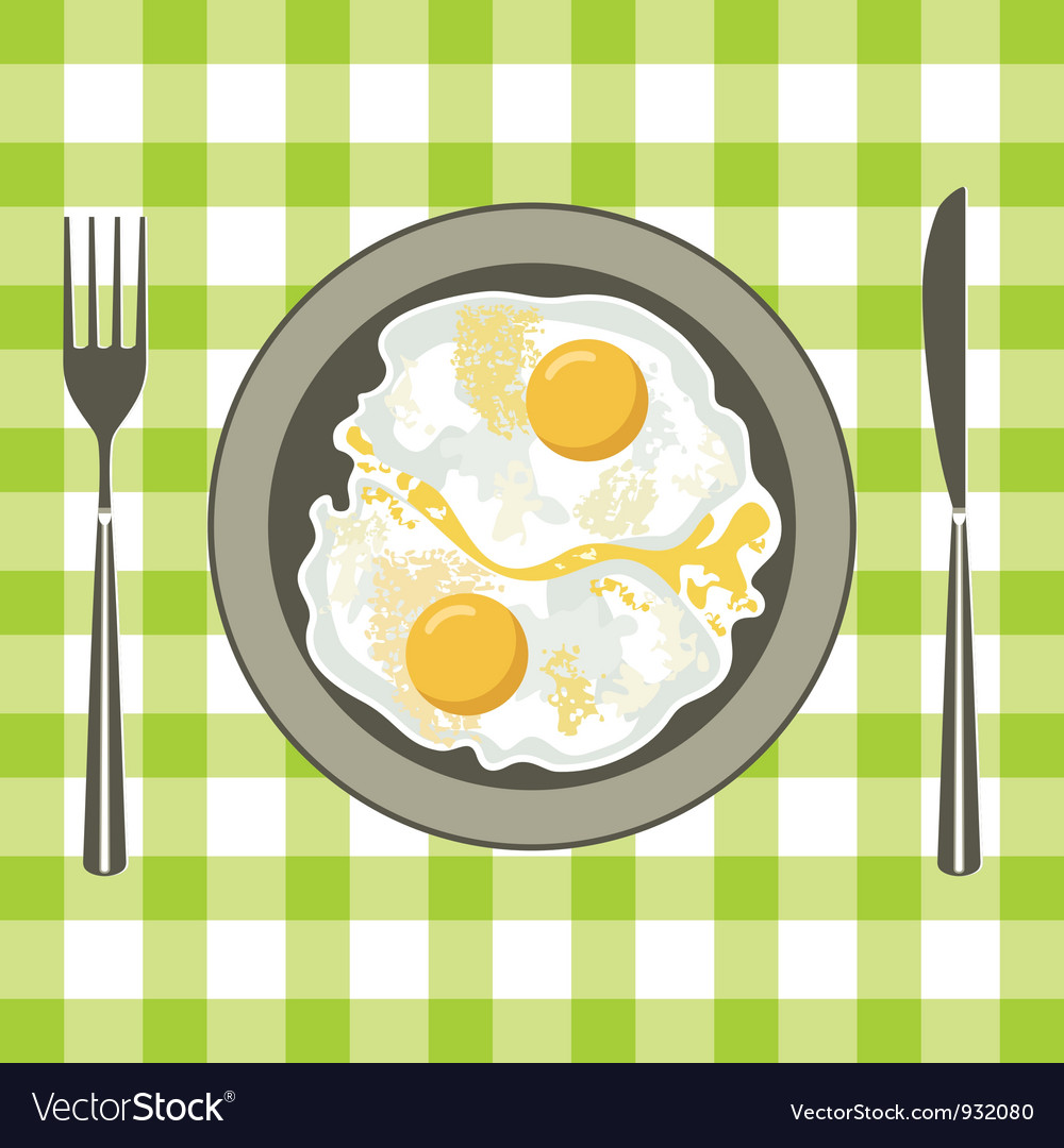 Fried eggs in a plate vector | Price: 1 Credit (USD $1)