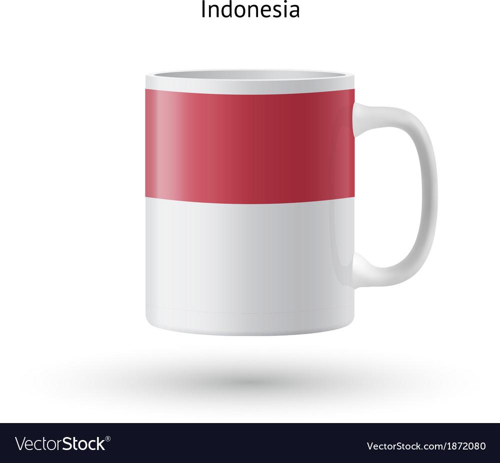 Indonesia flag souvenir mug on white background vector | Price: 1 Credit (USD $1)