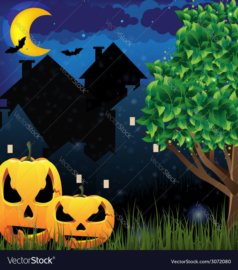 Jack olanterns and night city vector | Price: 3 Credit (USD $3)
