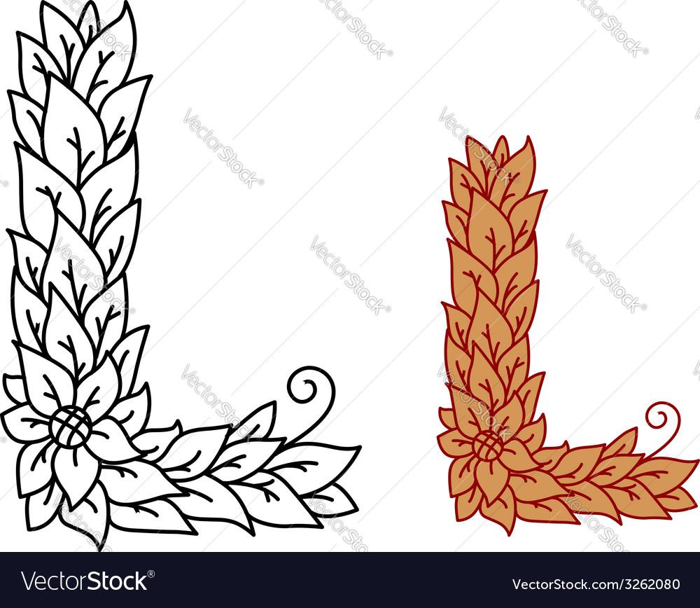 Leaf design uppercase letter l vector | Price: 1 Credit (USD $1)