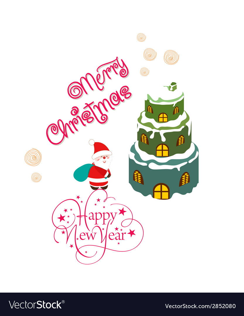 Merry christmas card with santa claus and vector | Price: 1 Credit (USD $1)