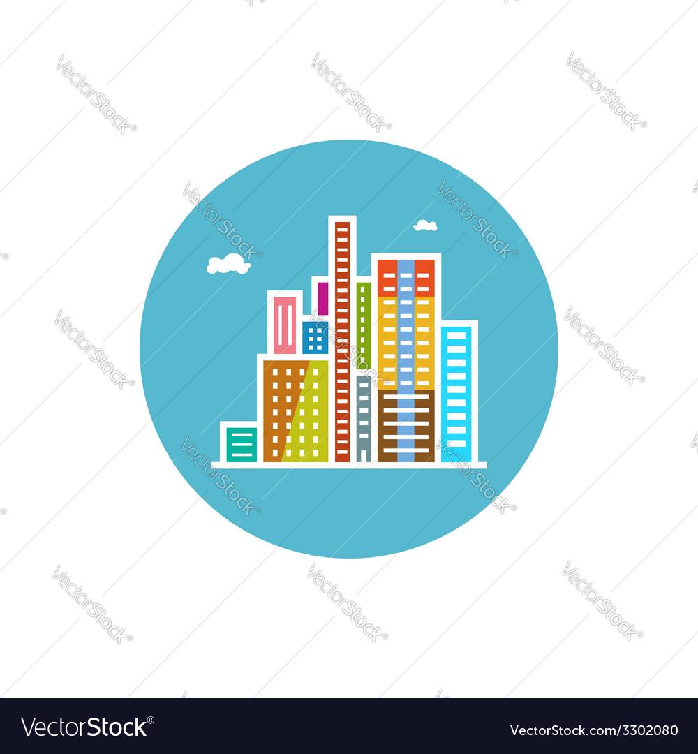 Modern buildings icon city icon vector | Price: 1 Credit (USD $1)