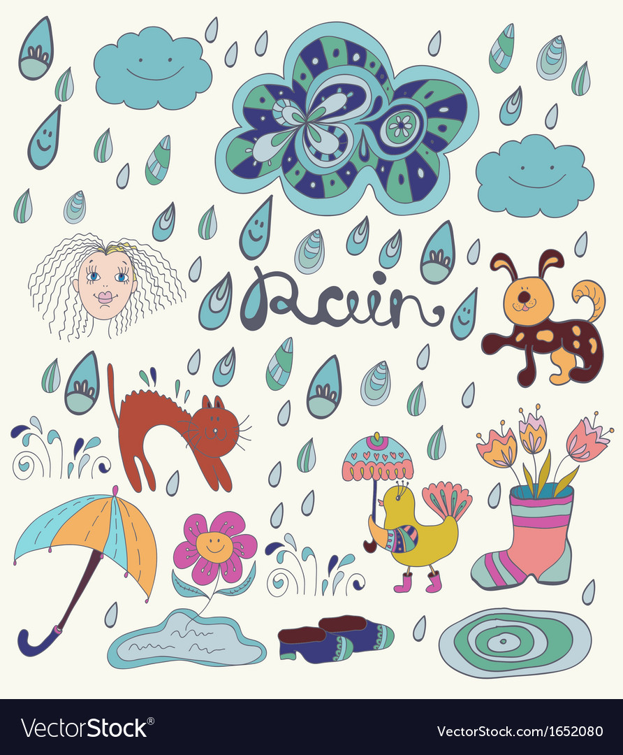 Rain cartoon background with funny elements vector | Price: 1 Credit (USD $1)