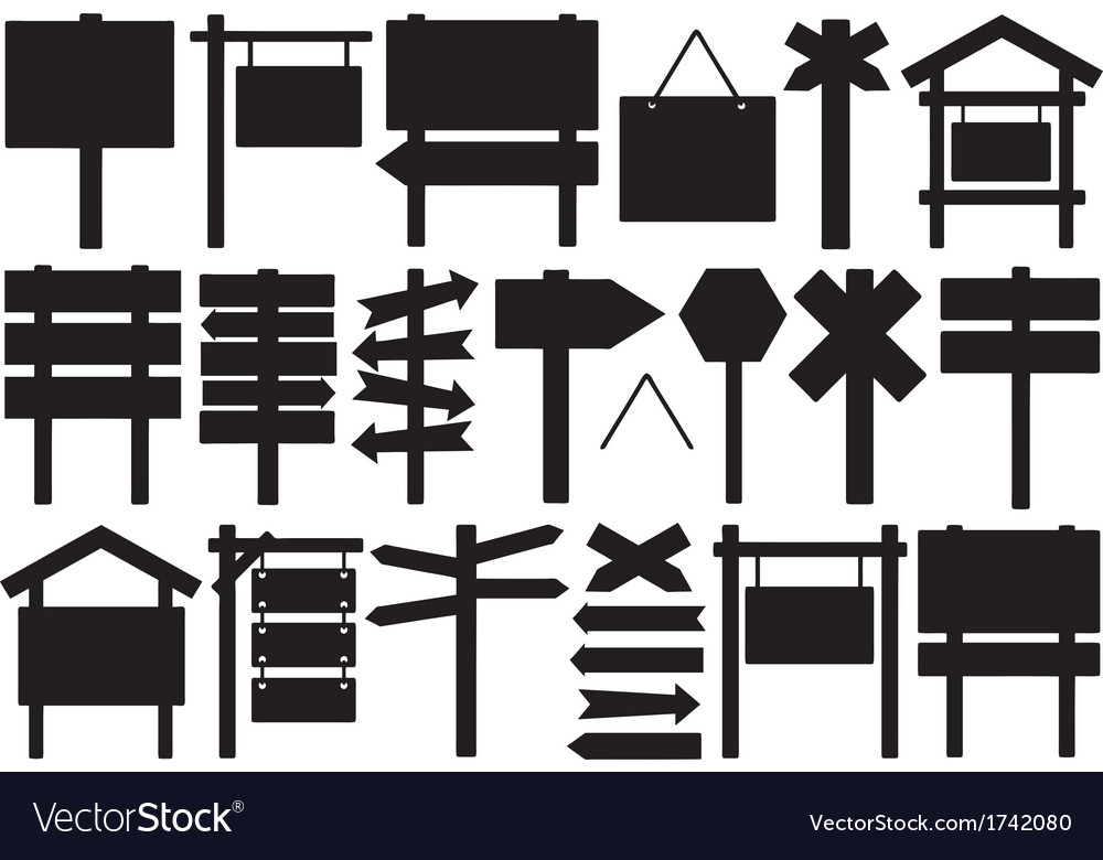 Set of different directional signs vector | Price: 1 Credit (USD $1)