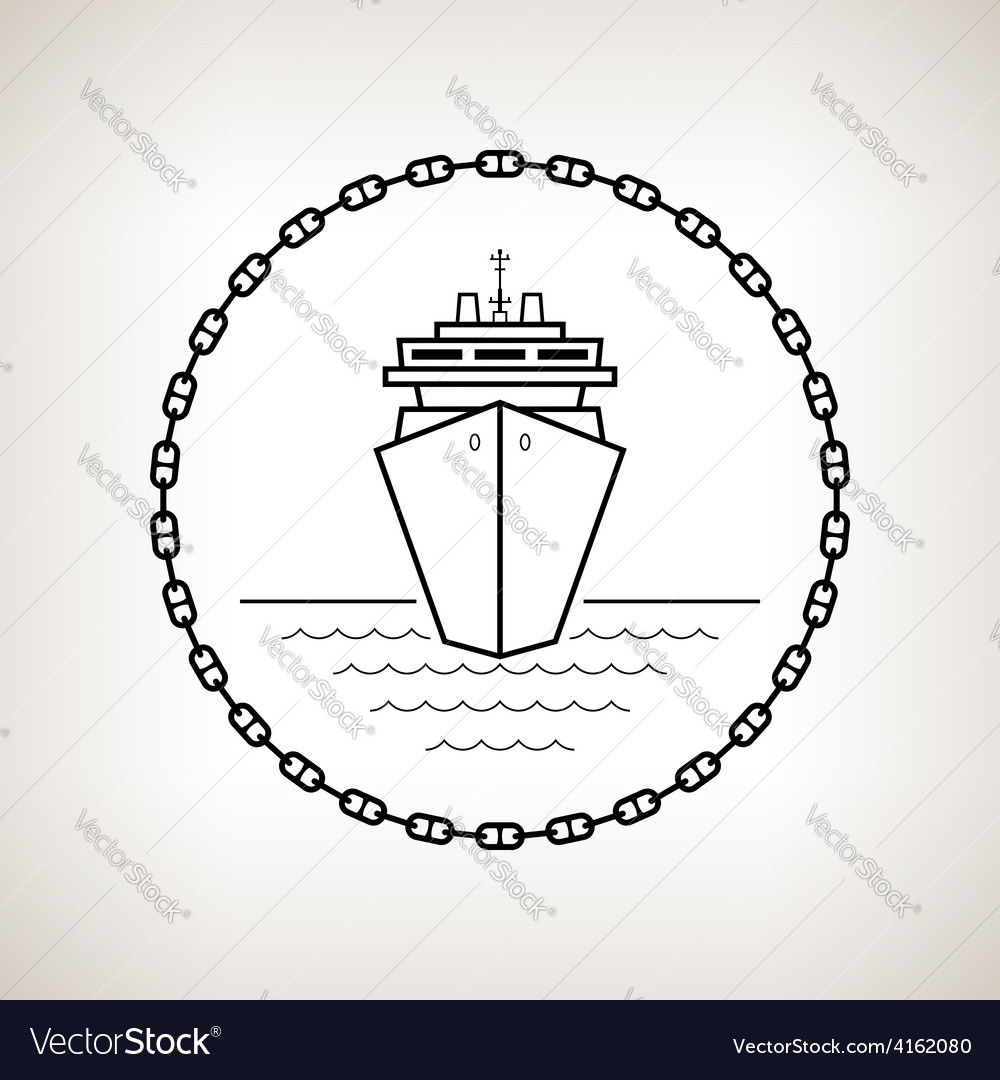 Silhouette cruise ship on a light background vector | Price: 1 Credit (USD $1)