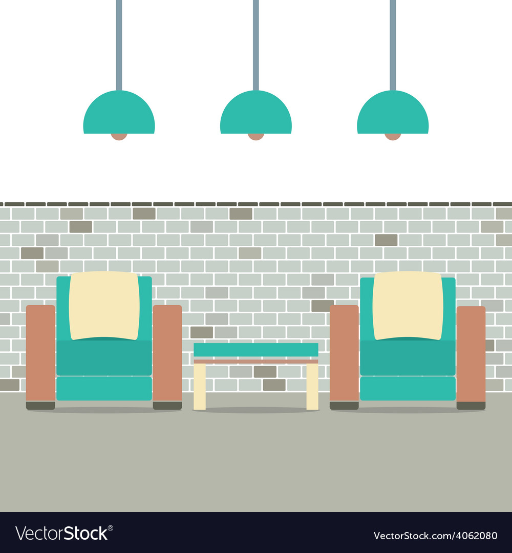 Sofas with modern lamp on brick background vector | Price: 1 Credit (USD $1)