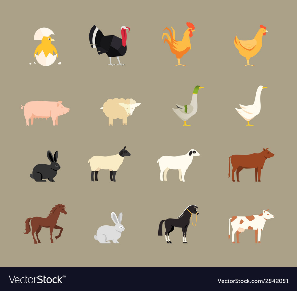Farm animals set in flat style vector | Price: 1 Credit (USD $1)