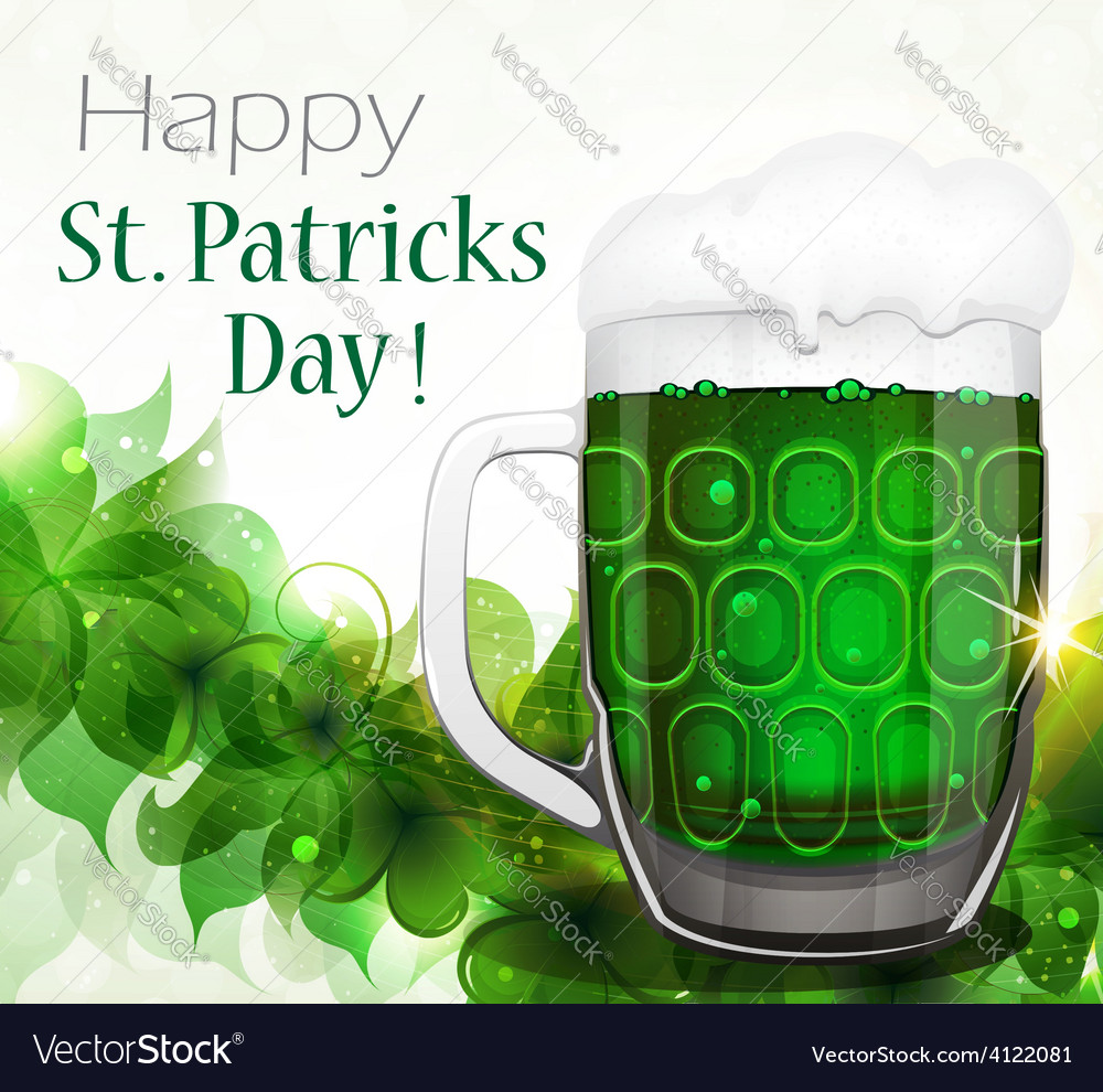 Green beer on clover background vector | Price: 3 Credit (USD $3)