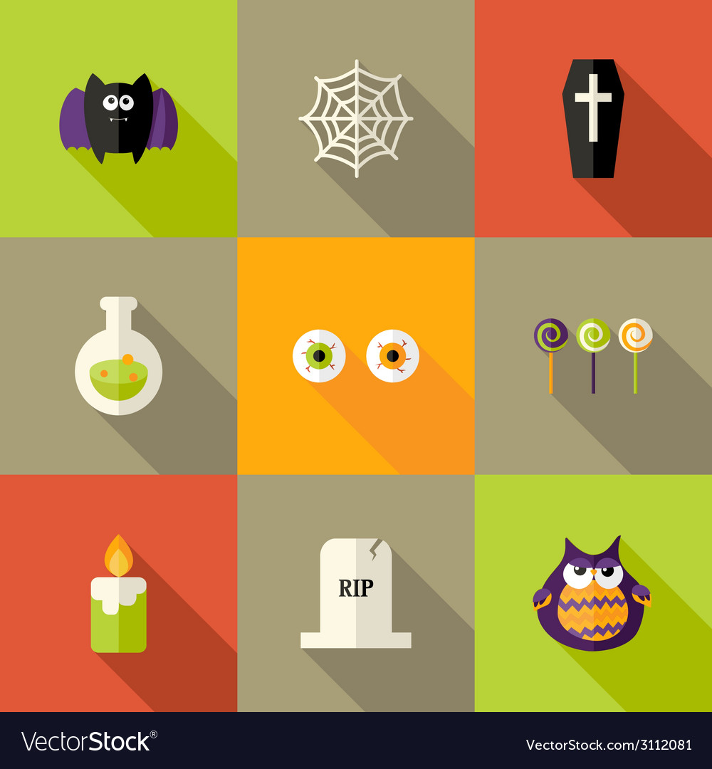 Halloween squared flat icons set 1 vector | Price: 1 Credit (USD $1)