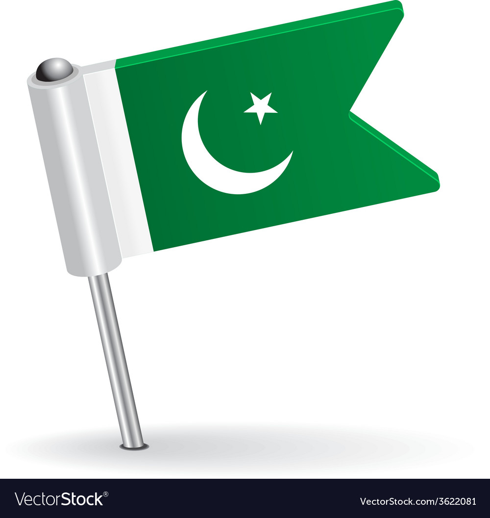 Pakistani pin icon flag vector | Price: 1 Credit (USD $1)