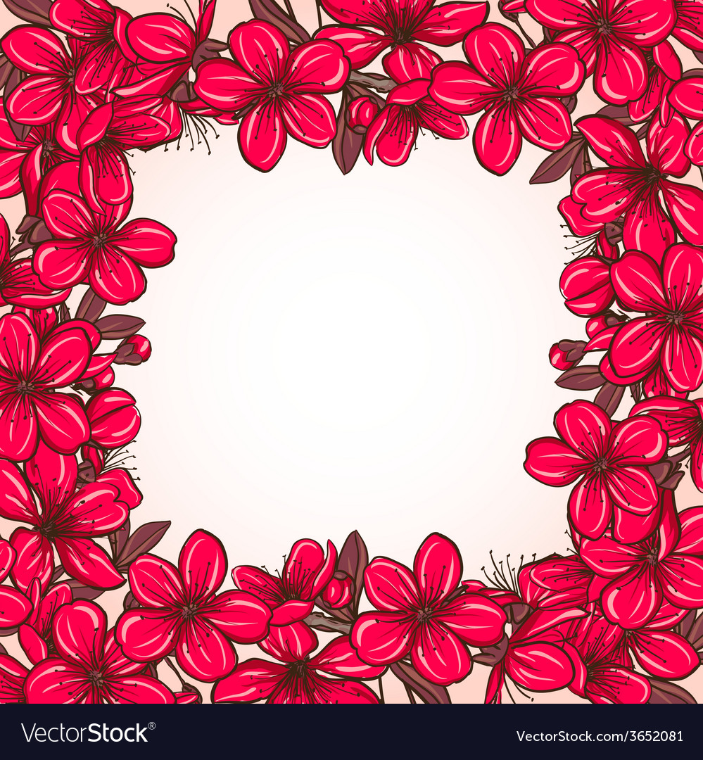Plum blossom frame vector | Price: 1 Credit (USD $1)