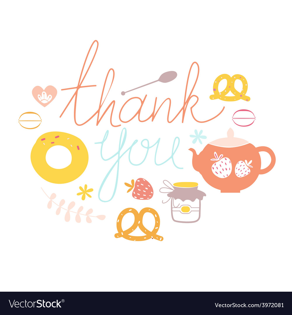Thank you design with sweets vector